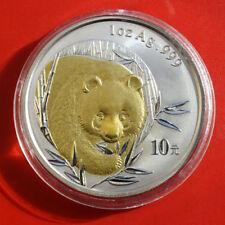 China: 2003 Silber-Silver 10 Yuan 1 OZ-Unze, KM#1244, Golden Panda,#F0408, rare!