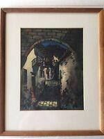 """Original Framed Watercolor by E. Aguirre Diaz """"Quito Ecuador"""", 7 1/2"""" x 9 3/4"""""""