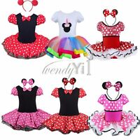 MINNIE MOUSE Girls Kid Party Cosplay Costume Ballet Tutu Fancy Dress Age 1-10Yrs