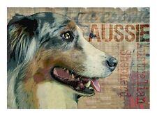 AUSTRALIAN SHEPHERD Dog Print Poster Vintage AUSSIE signed Wendy Presseisen