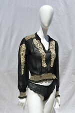 Vintage 40's hand embroidered hungarian peasant hippie blouse sheer sexy top Lg