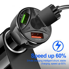 3 Ports USB Car Charger Adapter LED Display QC 3.0 Fast Charging for IOS Android