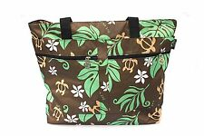 Hawaiian Print Large Tote Bag Double Zipper with Handle Palm Leaf Green Turtle