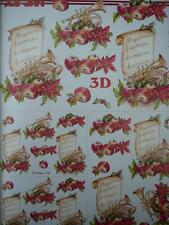 A4 Christmas Card Making 3D Paper Tole Music Trumpet Apple New