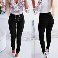 Women Slim Stretch High Waist Long Pants Casual Lace Up Leggings Pencil Trousers