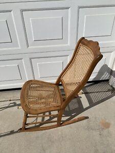 Antique ROCKER cane back rocking chair mid century modern  wood