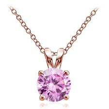 Rose Gold Tone on Silver 2ct Pink Cubic Zirconia 8mm Round Solitaire Necklace