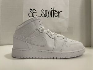 Nike Jordan 1 Mid GS Triple White Sneaker 554725-130 Youth Size 4.5Y