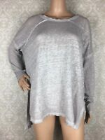 We The Free People Burnout Long Sleeve Top Sz XS Oversized Gray
