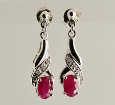NATURAL RUBY EARRINGS GENUINE DIAMONDS 9K 375 WHITE GOLD DROPS GIFT BOXED NEW