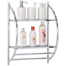 2 Tier Modern Chrome Wall Mounted Bathroom Shelf Unit Towel Rail Rack