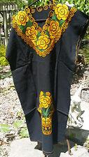 Maya Mexican Dress Embroidered Flowers Chiapas Puebla Black Orange Large PN