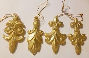 Lot of 12 Fleur de Lis Scroll Mardi Gras Gold Sparkly Christmas Tree Ornaments