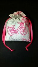 Handmade Fabric Gift Bag Small Size French Theme Print 8X8 NEW LS2B