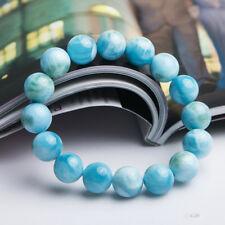 "10mm Natural Blue Larimar Gemstone Round Beads Water Pattern Bracelet  7.5"""