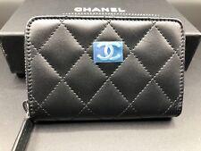 CHANEL Lambskin Zip Around Small Wallet - Black NWT