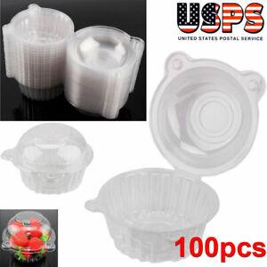 100X Adorable Plastic Cupcake Cake Case Muffin Pod Dome Holder Box Container