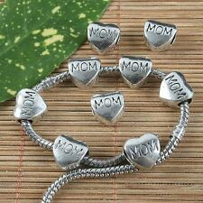 12pcs antiqued silver MOM heart spacer beads G1303