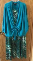 Perceptions Women's 2 Pc Sleeveless Dress w Jacket Size 1X Green Floral NEW!