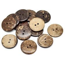 10 Botones de Cáscara de Coco Real 25mm Coser, libro de chatarra, botón de acolchar, Arte