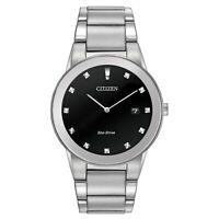 Citizen Eco-Drive Men's Axiom Diamond Accents Silver-Tone 40mm Watch AU1060-51G