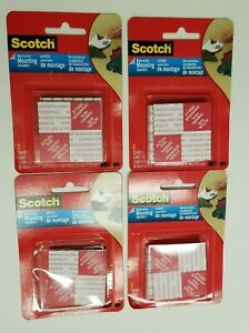 3M 108D Scotch Mounting Squares Removable 8 Double-Sided Adhesives 4 Packs