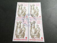 FRANCE BLOC timbres 2295 CROIX ROUGE, oblitéré 1983 cachet rond, QUARTINA