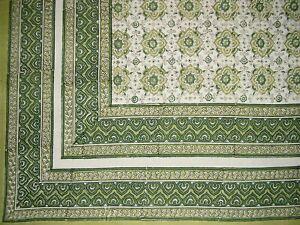 "Tile Block Print Tapestry Cotton Spread 106"" x 88"" Full Green"