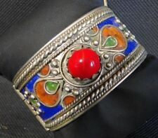 BRACELET JEWELRY ETHNIC ENAMELLING COLD WITH CABOCHON RED B1943
