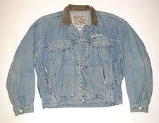 Vintage 1980 DIESEL Mens Motorcycle Denim Jacket, Leather Collar Sz: XL, Italy