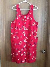 Womens Jumper Dress Size M Red Apples Modest PL Greene Ceramic Button Front