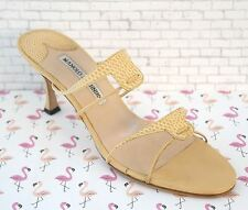 MANOLO BLAHNIK 38 Sandals Beige Strappy Leather Open Toe Slides Heels US 7.5