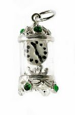 STERLING SILVER JEWELLED GREEN CARRIAGE CLOCK CHARM
