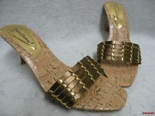 "Pierre Dumas Slide Sandals Gold 9B 3""Heel Worn Once EC"