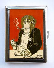 Monkey smoking Cigarette Case Business Card Holder retro regal Anthropomorphic