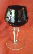 Beautiful Dark Red Bohemian Glass Cut to Clear Wine Goblet