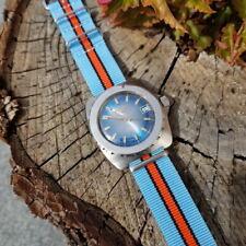 NATO Strap Armband zweiteilig  / split strap 22 mm hellblau orange 8217