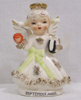 Vintage Lefton Porcelain September Angel Figurine w/ Apple Book Spaghetti Trim