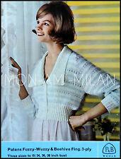 Vintage Tejer patrón copia década de 1960 señoras Fuzzy-Buzzy bedjacket Cardigan 3 capas