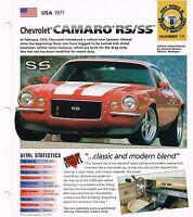 1971 CHEVROLET CAMARO RS/SS custom SPEC SHEET/Brochure