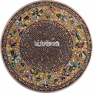 36'' Marble Beautiful Mosaic Stone Dining Table Top Multi Floral Art Inlay Decor