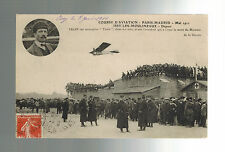 1911 France Early airmail RPPC Postcard cover Paris to Madrid Air Race Train