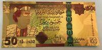LIBYA 50 DINARS 24K GOLD MUAMMAR GADAFFI UNC GUDDAFY QADDAFI BANKNOTE POLYMER