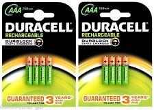 8 x Pilas Duracell Aaa 750 mAh Recargable estancia cargado HR03 - 2 paquetes de 4