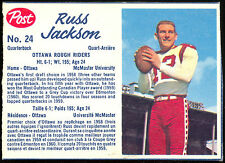 1962 POST CFL FOOTBALL #24 RUSS JACKSON NM OTTAWA ROUGH RIDERS MCMASTER UNIV