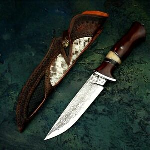 Straightback Knife Fixed Blade Hunting Wild Tactical Combat VG10 Damascus Steel