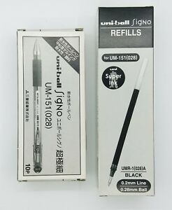 Uni-ball Signo UM-151 roller ball gel pen 0.28mm black X10 pcs+12 REFILL (C)