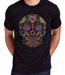 "Men's Rhinestone T-Shirt "" Colorful Neon Sugar Skull "" in Sm to 3X - Unisex"