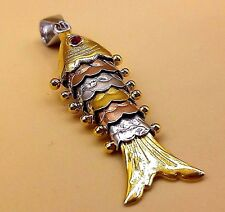 SILVER WITH GOLD AND COPPER PLAT FLEXIBLE FISH DESIGN PENDANT UNISEX 01