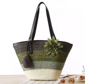 Woven straw tote bag Handmade French market Basket Moroccan Basket, Beach Bag